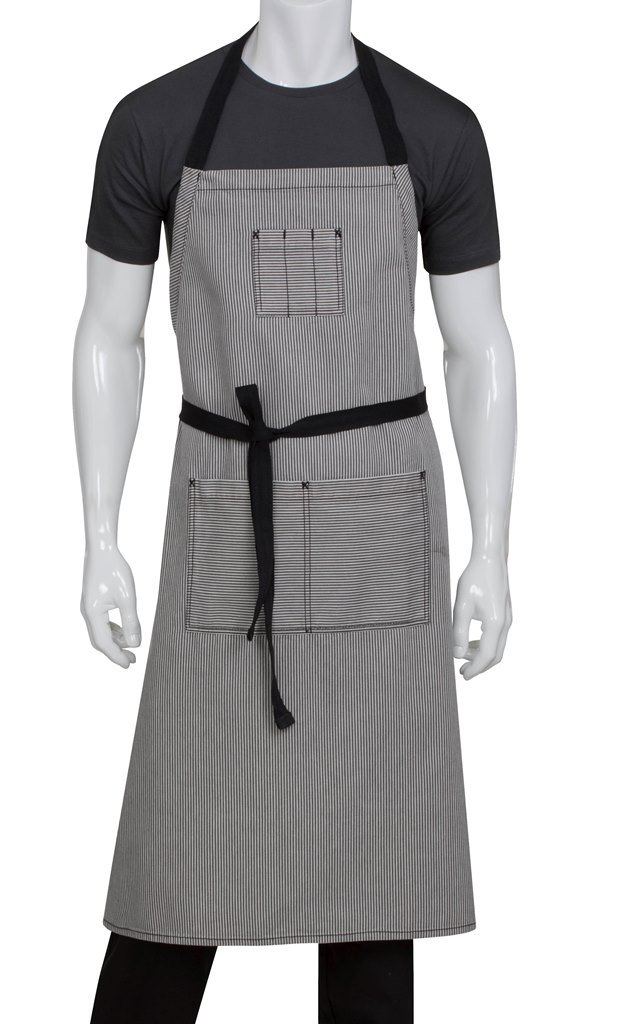 Chef Works Unisex Portland Chefs Bib Apron, Black, One Size