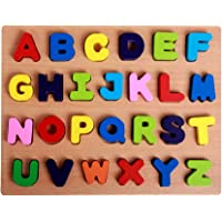 Toyvian Wooden Alphabet Puzzle Board Alphabet Blocks Color Sorting Puzzles for Toddlers Kids (Capitalized Letters)