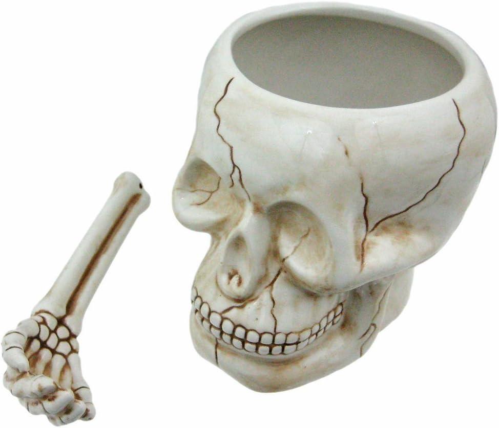 Pacific Giftware ArtMuseKitsMikash Cool Ceramic Skull Bowl W/Bone Spoon