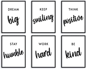 L & O Goods Inspirational Wall Art Décor for Office, Living Room, Home| Motivational & Positive Quotes & Sayings | Black & White | Six 8 x 10 Prints, Unframed