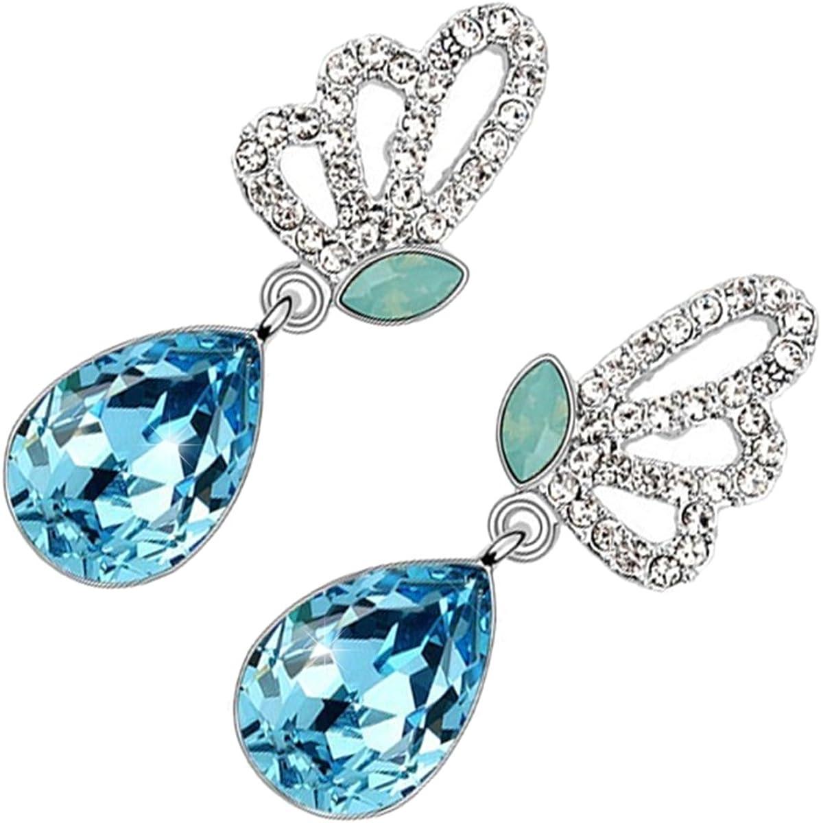 GWG Jewellery Pendientes Mujer Regalo Pendientes, Chapados en Plata de Ley Alas de Mariposa Adornadas con Cristales Blancos y Piedra Colgante de Colores Varios en Forma de Gota de Agua para Mujeres