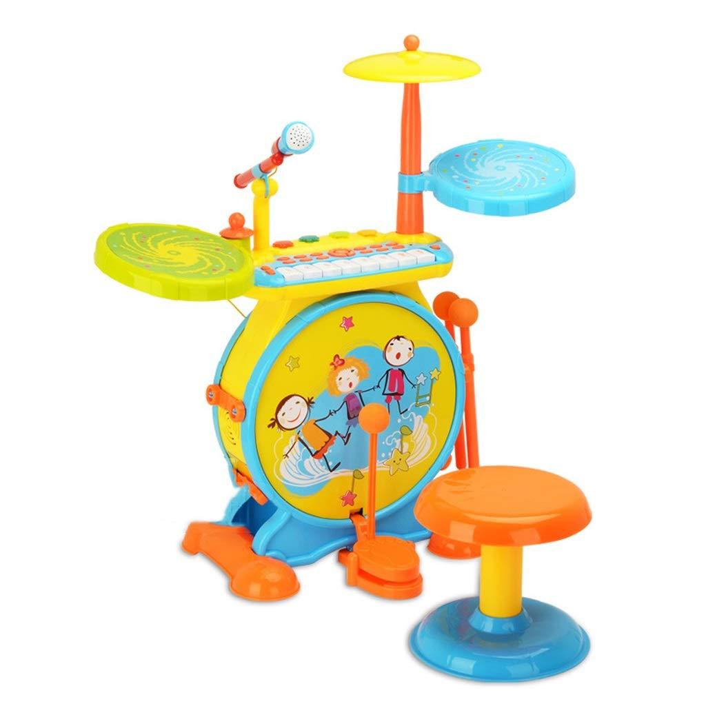 HXGL-Tambor Tambores de Regalo para niños Buen Rendimiento 3-6 Yesrs Antigua combinación multifunción (Color : Amarillo)