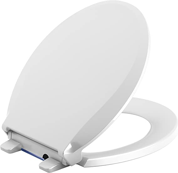KOHLER 75758-0 Cachet Nightlight Quiet-Close with Grip-Tight Round-Front Toilet Seat in White
