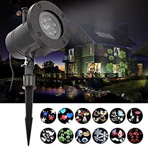 12 Patterns Christmas Light Projector Halloween LED Xmas Light Outdoor Projector Garden Light Show Decoration Spotlight for Holiday Party