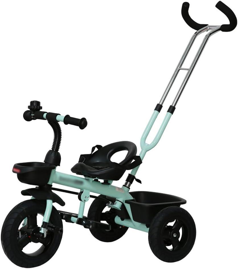 ZWW electronic Estable Empuñadura doble Rueda delantera Embrague Triciclo infantil, 18 Meses-6 años de edad Empuje Ride Dual-use Child Pedal Trike Bike, Empuñadura desmontable Cochecito de bebé