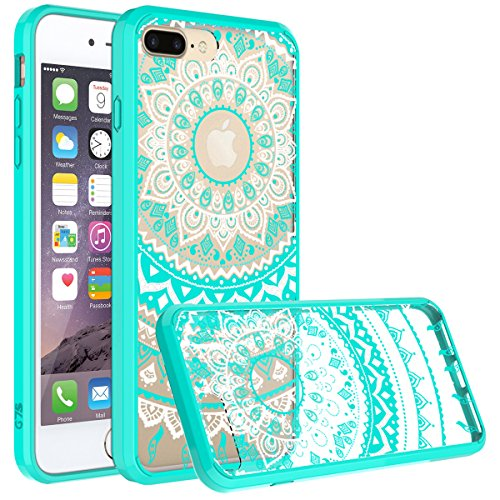 """iPhone 7 Plus Case, SmartLegend Retro Totem Mandala Datura Henna Floral Pattern Clear Acrylic PC Hard Back Cover with TPU Bumper Frame Hybrid Transparent Protective Case for iPhone 7 Plus 5.5"""" - Mint"""