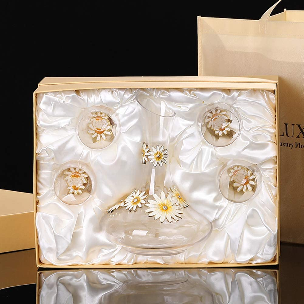 100/% Lead Free Premium Crystal Anniversary Gift for Wedding Clear BOLLAER Sunflower Decanter Christmas Hand Blown Glasses
