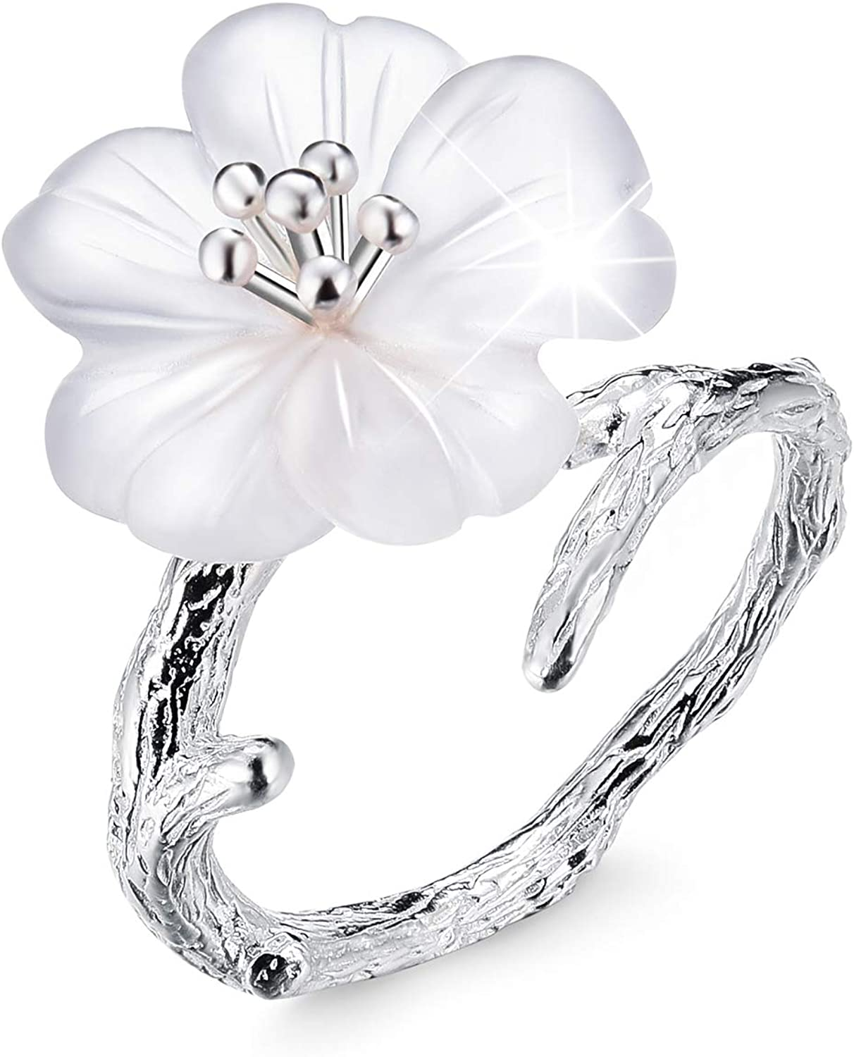 Antique Silver Ring for Women Statement Ring Size 8 Fashion Jewelry Large Full Crystal Flower Ring