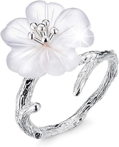 fleur Bijoux Bague argent sterling Bague avec fleurs et feuilles
