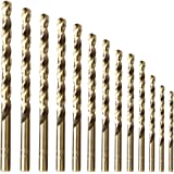 "amoolo Cobalt Drill Bit Set (13 pcs), M35 HSS Metal Drill Bits for Steel, Stainless Steel, Metal and Cast Iron,1/16""-1/4…"