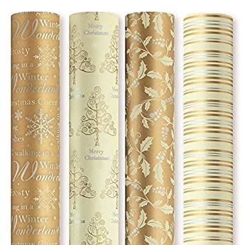 4 x Rolls Of Christmas Gift Wrap Wrapping Paper 5M x 69cm Gold ...