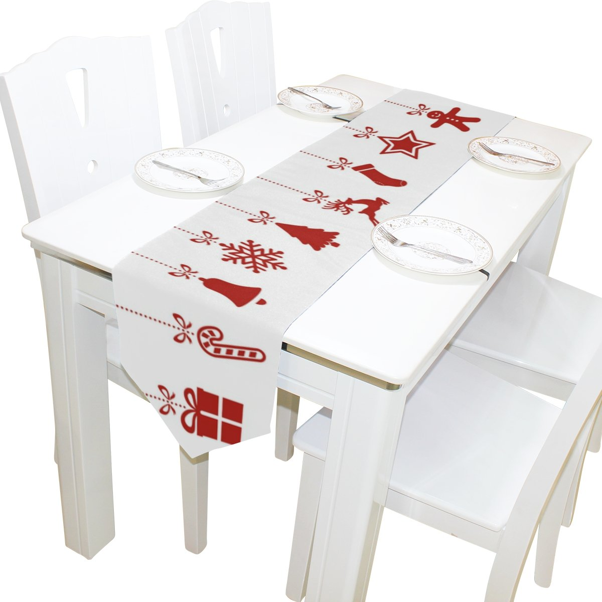 Merry Christmas White & Red Cloth Print Table Runner | ChristmasTablescapeDecor.com