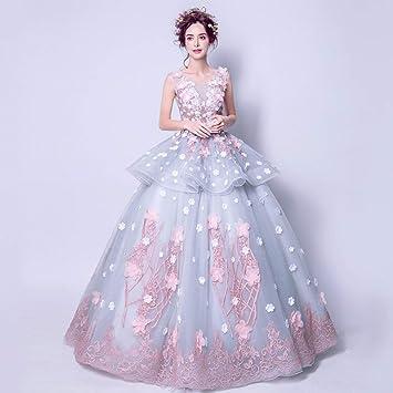 YT-ER Dream Princess Vestido de Novia sin Mangas Hermosa Espalda 3D Vestido de Flores
