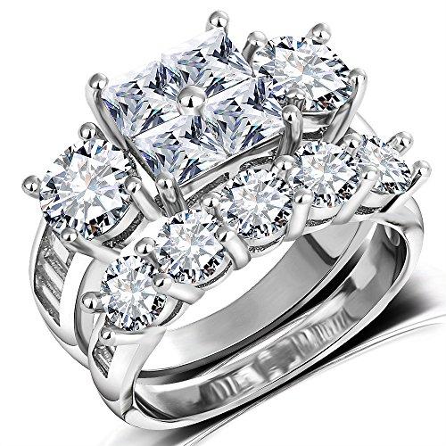 Princess Wedding Rings for Women - Brilliant Cubic Zirconia Big Engagement Bridal Sets Size 5-11