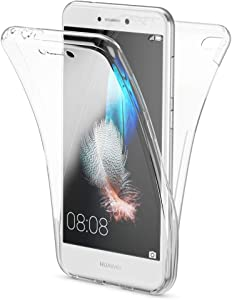 NALIA Funda 360 Grados Compatible con Huawei P8 Lite 2017, Delantera Trasera Protectora Movil Silicona Carcasa, Ultra-Fina Gel Transparente Doble Cubierta Goma Bumper Cover Case, Color:Transparente