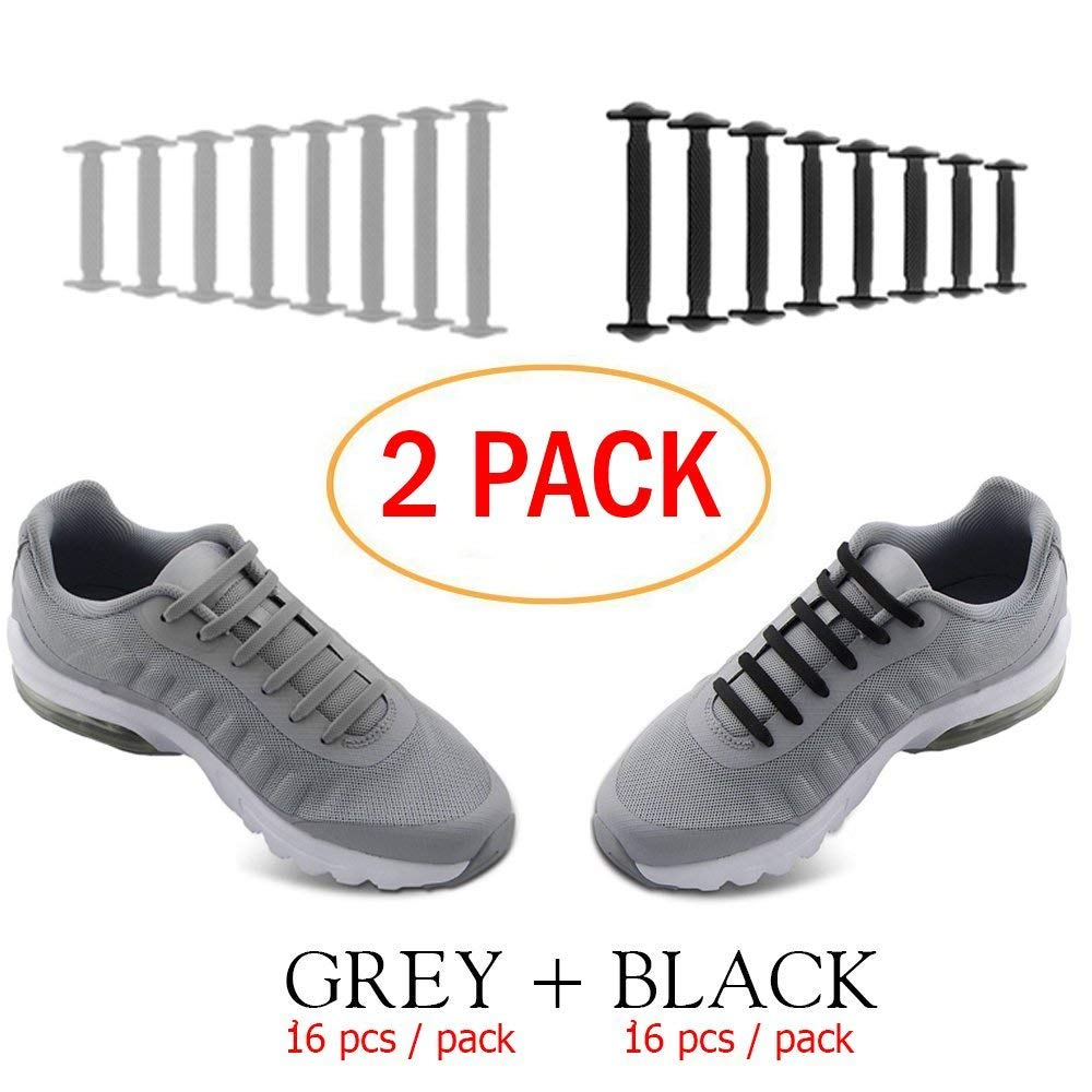 No Tie Shoelaces for Men and Women - Best in Sports Fan Shoelaces â Waterproof Silicon Flat Elastic Athletic Running Shoe Laces with Multicolor for Sneaker Boots Board Shoes and Casual (Black + Grey)