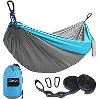 Syntus Camping Hammock Portable Indoor Outdoor Tree Hammock with 2 Hanging Straps, Lightweight Nylon Parachute Hammocks for Backpacking, Travel, Beach, Backyard, Hiking