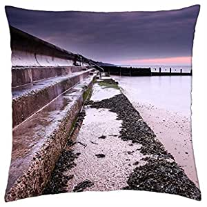 sea wall at dusk - Throw Pillow Cover Case (18