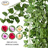 NAYARD Ivy Garland Artificial Greenery Garland 12 Strands 82 Feet Fake Ivy Vines Silk Leaves Garlands Decorations for Wedding Party Garden Water Pipe Fence Outdoor Indoor Wall (Ivy Garland)