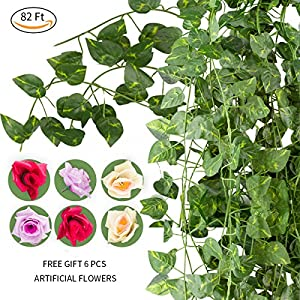 NAYARD Ivy Garland Artificial Greenery Garland 12 Strands 82 Feet Fake Ivy Vines Silk Leaves Garlands Decorations for Wedding Party Garden Water Pipe Fence Outdoor Indoor Wall (Ivy Garland) 33