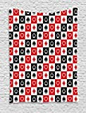 Ambesonne Casino Decorations Collection, Card Suits Advertising Leisure Luck Gaming Entertainment Repeat Illustration Image, Bedroom Living Room Dorm Wall Hanging Tapestry, Red Black