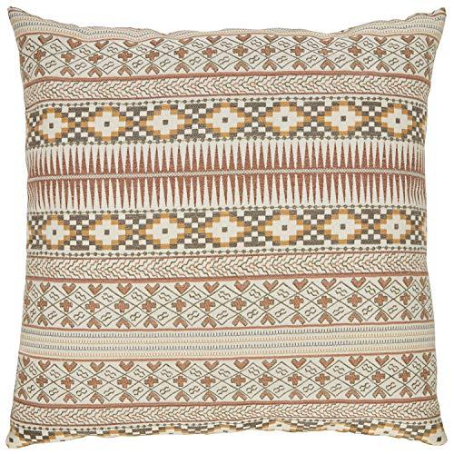 Stone Beam Rustic Geometric Throw Pillow – 20 x 20 Inch, Earth Tones
