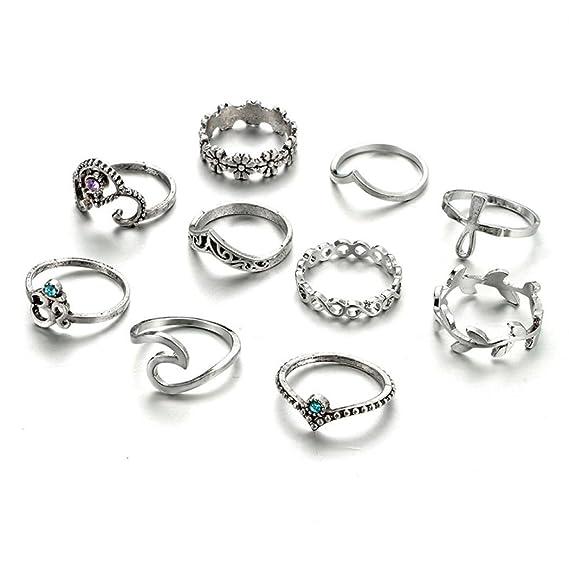 Amazon.com: botrong Juego de 10 anillos de las mujeres de ...