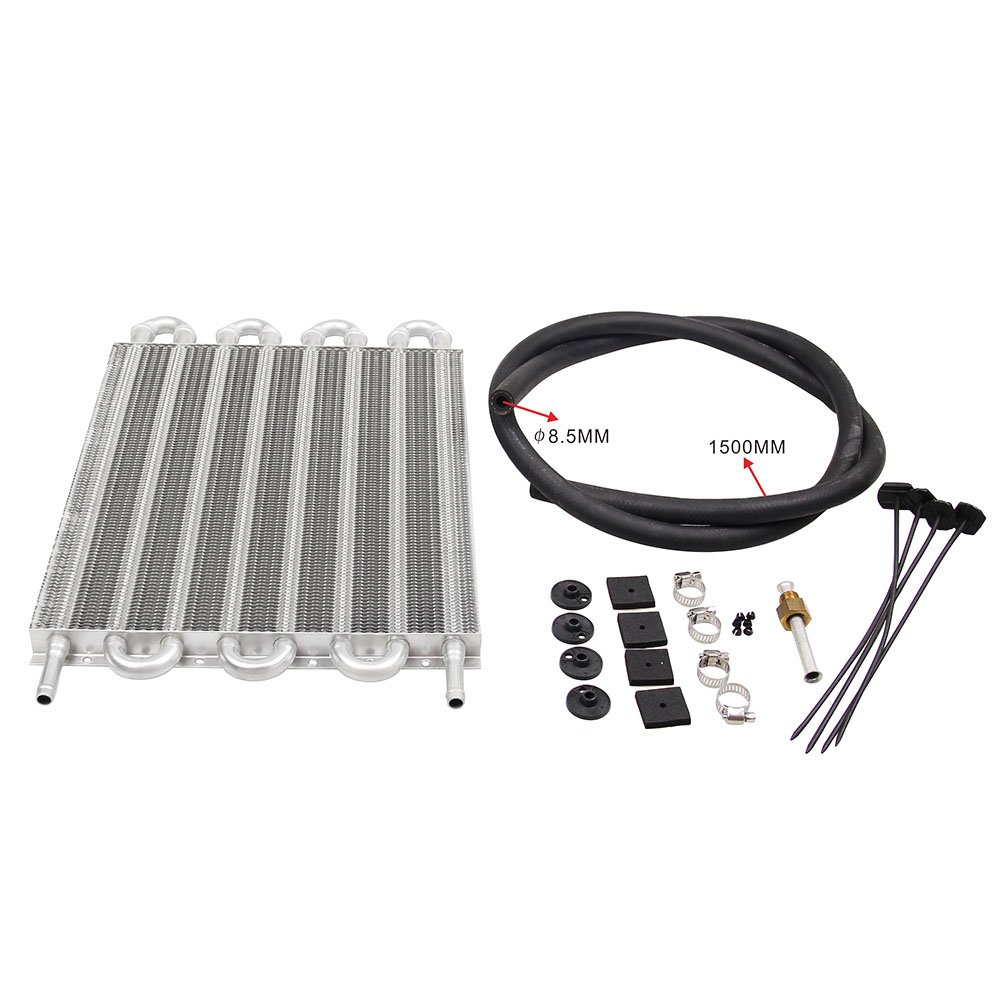 Sporacingrts 8 Rows Aluminum Auto-Manual Radiator Converter/Car Transmission Oil Cooler Kit For Most Car