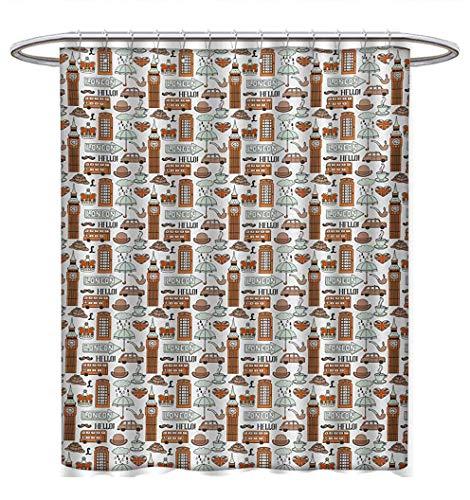 London Shower Curtains Sets Bathroom Traditional City Symbols and Landmarks Retro Collection Big Ben Rain Bathroom Accessories W69 x L75 Pale Orange Tan Pale Blue