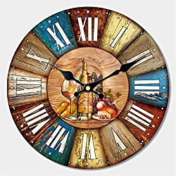 ShuaXin 16 Vintage Wine Style Wall Clock Decorative Wall Art Antique Wall Clocks for Home Decoration and Bar Decor