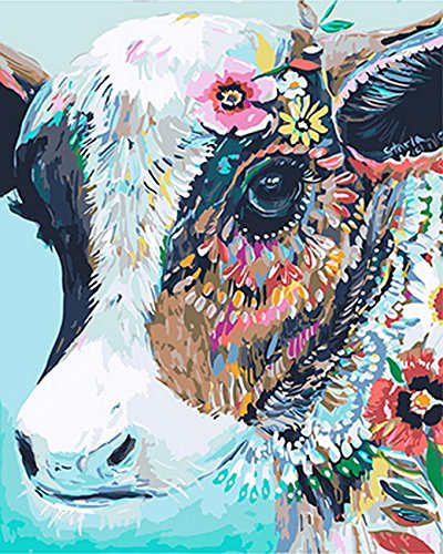 Amazon Com Paint By Number Kits Colorful Cow 16x20 Inch Linen
