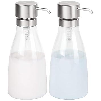mDesign Juego de 2 dosificadores de jabón líquido en plástico - Dispensador de jabón líquido grande rellenable - Dispensador de champú, acondicionador o ...