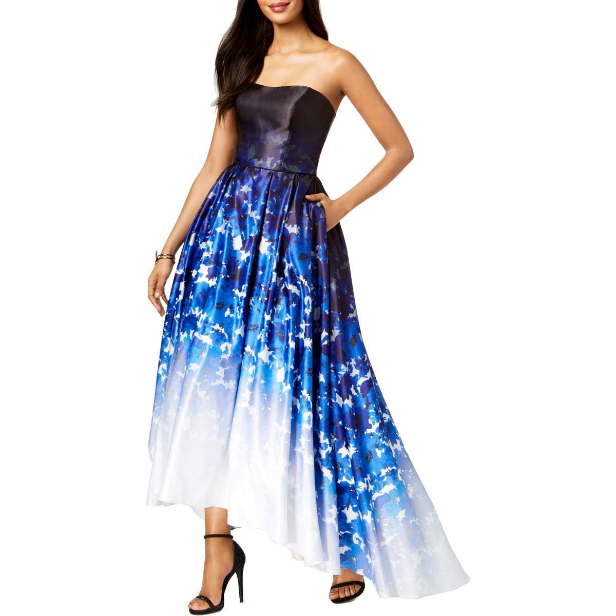 bluee Multi Betsy & Adam Womens Strapless HiLow Evening Dress
