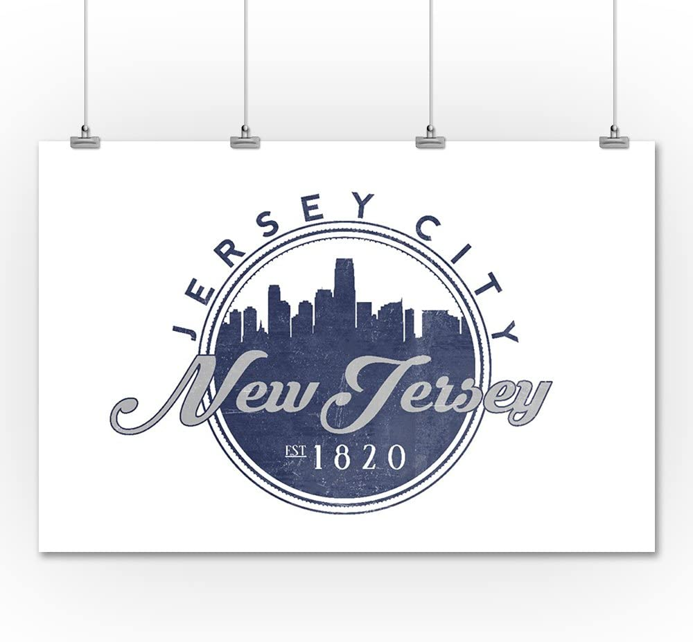 New Jersey Lantern Press Jersey City Blue 12x18 Aluminum Wall Sign, Wall Decor Ready to Hang Skyline Seal