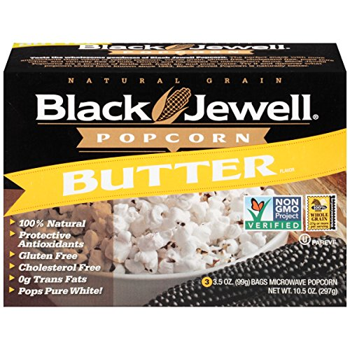 Black Jewell Premium Microwave Popcorn, Butter, 3-Count, 10.5-Ounce Boxes (Pack of 6)