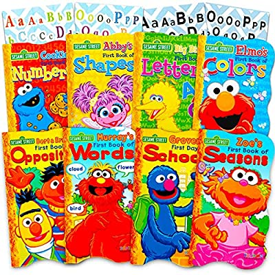 Sesame Street Ultimate Board Books Set for Kids Toddlers - Pack of 8 Board Books with Alphabet Stickers (ABC Set): Office Products