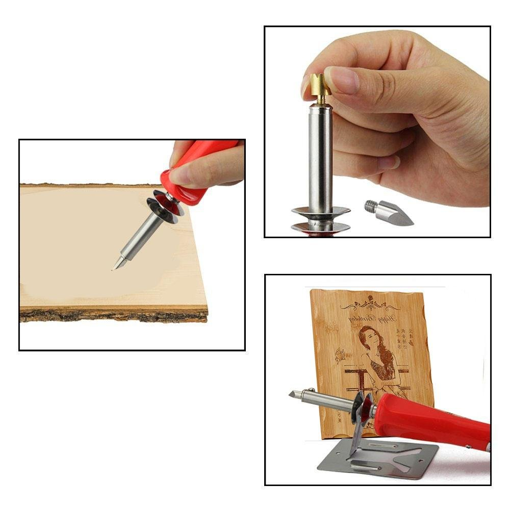 Aolvo Wood Carving Tools Accessories, Electric Carving Kit with Letters Stencils Craft Carver Set Wood Burning Kit 30W