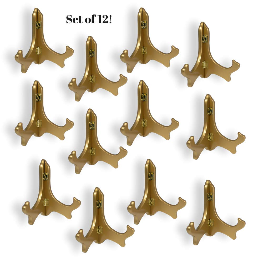 BANBERRY DESIGNS Gold Metallic Wood Easels Premium Quality Display Plate Stand Holder – 5 Inch – Set of 12 Pieces