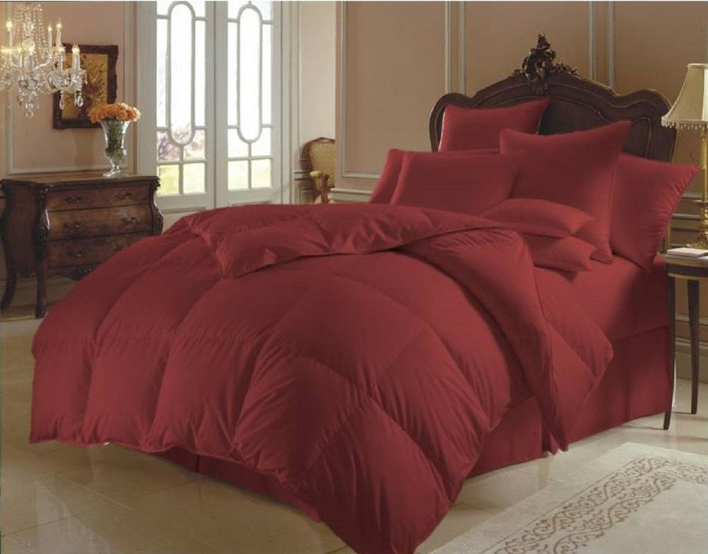 MoonLight Bedding 100% Egyptian Cotton Down Alternative All Season Soft Quilted 1-Piece Comforter with 300 GSM Microfiber Fill 800 TC Duvet Insert Hypoallergenic (King/Cal-King, Burgundy)