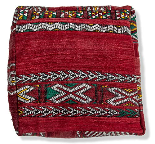 Kilim Pouf Berber Style - Hand Woven - 100% Wool and Cotton - Ottoman, Footstool, Floor Cushion, Pillow, Pouffe (Red) ()