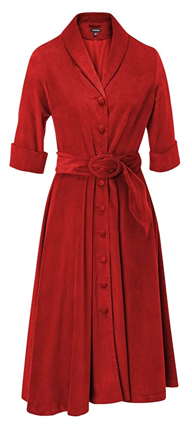 1950s Day Dresses 1940s Cord Dress $216.20 AT vintagedancer.com