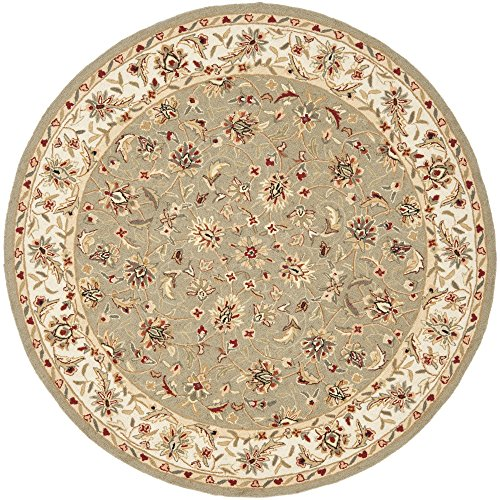 (Safavieh Chelsea Collection HK78D Hand-Hooked Sage and Ivory Premium Wool Round Area Rug (5'6