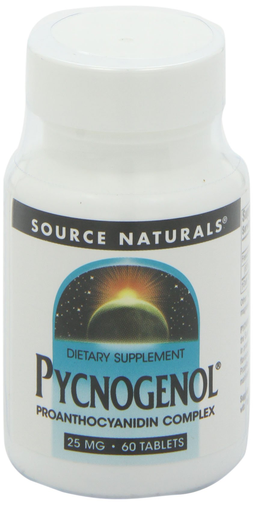 Source Naturals Pycnogenol 25mg Proanthocyanidin Complex Herbal Antioxidant, French Maritime Pine Bark Extract - 60 Tablets