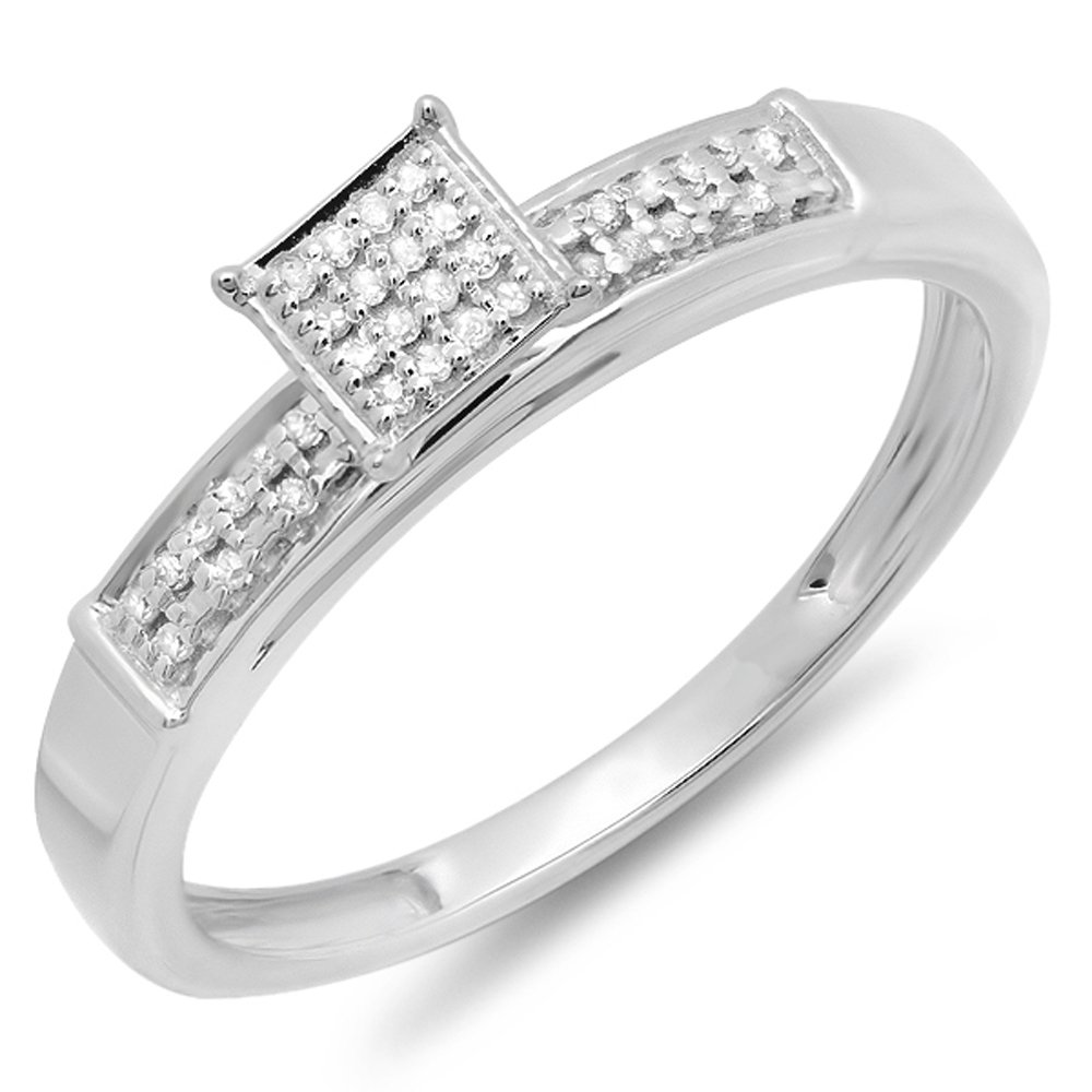 0.10 Carat (ctw) Sterling Silver Round Diamond Ladies Square Frame Micro Pave Promise Ring 1/10 CT (Size 7)