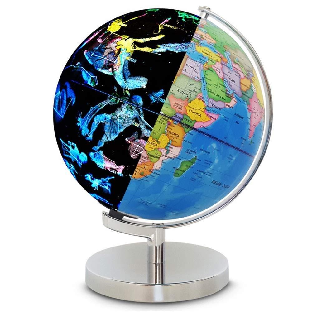 Desktop Globus HJCA Metal Desktop Globe - Mit LED-Beleuchtung World Map Education Große rotierende Desktop Globe Wide - Größe  Breite 20CM  High 28CM Lernutensilien, büro dekoration, handwerk