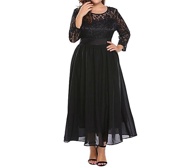 Chiffoned Women Vintage Lace Dress Plus Size Xl 5xl Spring Lace 34