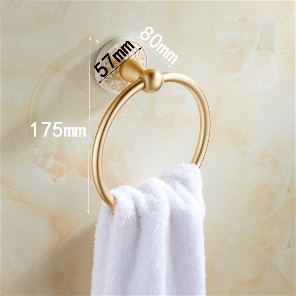 TOYM US- European matte gold ring towel ring towel rack space aluminum towel hanging ring by Towel Ring (Image #2)