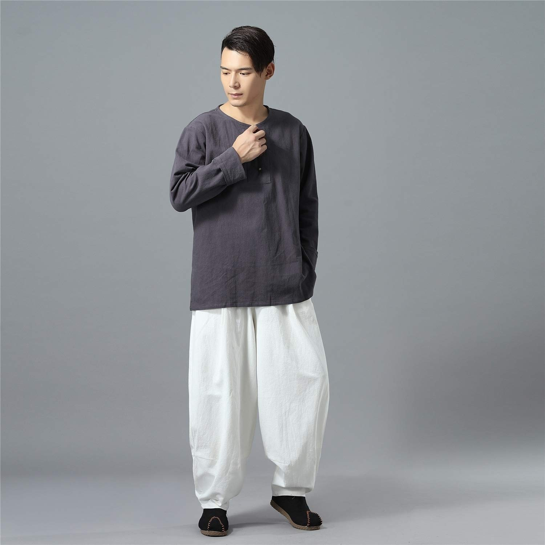 Zimaes-Men Comfort Plus Size Chinese Style Linen Cargo Pants