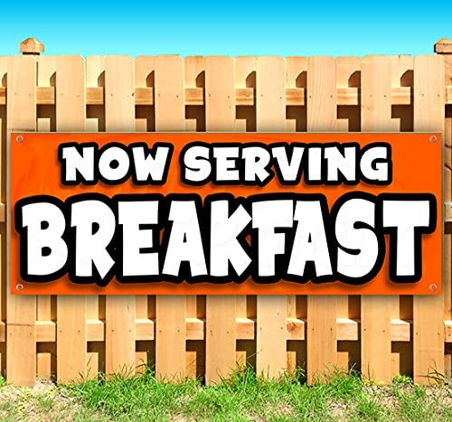 New Many Sizes Available Advertising Breakfast 13 oz Heavy Duty Vinyl Banner Sign with Metal Grommets Store Flag,