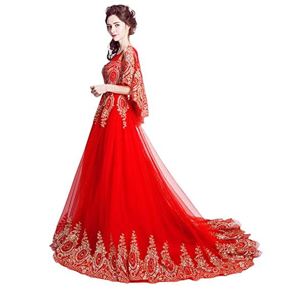 Red Wedding Dress Bride Gown Sequins Shawl Trail Pearl Embroidery ...